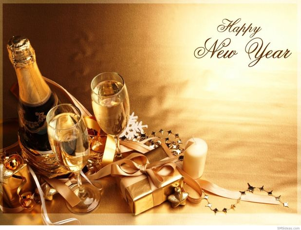 Happy New Year With Wine Wallpaper