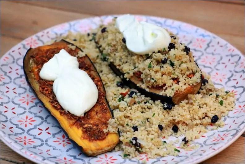 aubergine à la chermoula, semoule aux fruits secs et yaourt de Yotam Ottolenghi