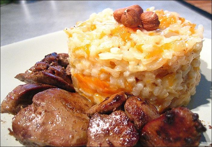 risotto courge foie volaille