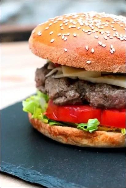 burger boeuf haché jambon fromage