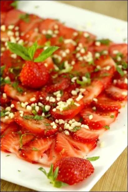 fraises à la menthe