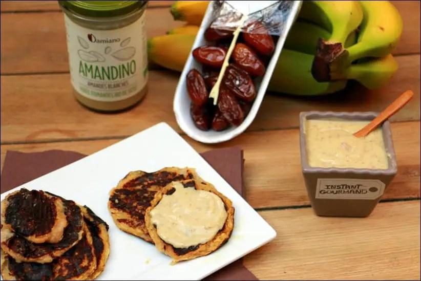 Crêpes healthy de banane et crème d'amandes aux poires – sans gluten, sans lactose et sans œufs