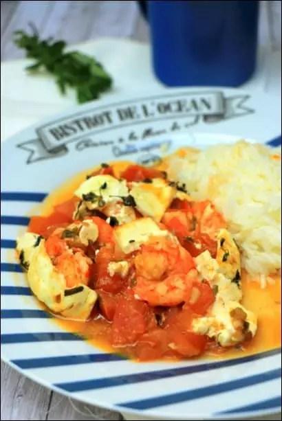 crevettes feta tomates