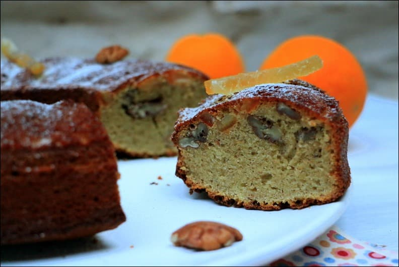 gâteau à la noix de pécan orange confite et miel