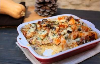 gratin de courge butternut champignons jambon cru et cantal