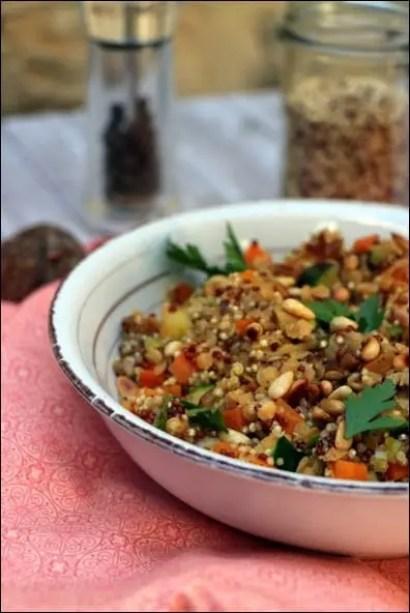 lentilles quinoa poelee
