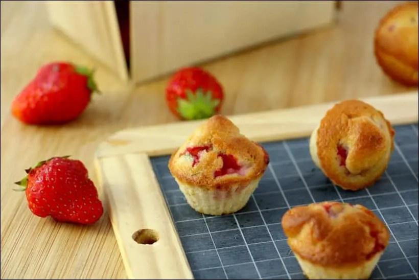 muffiins à la fraise et basilic