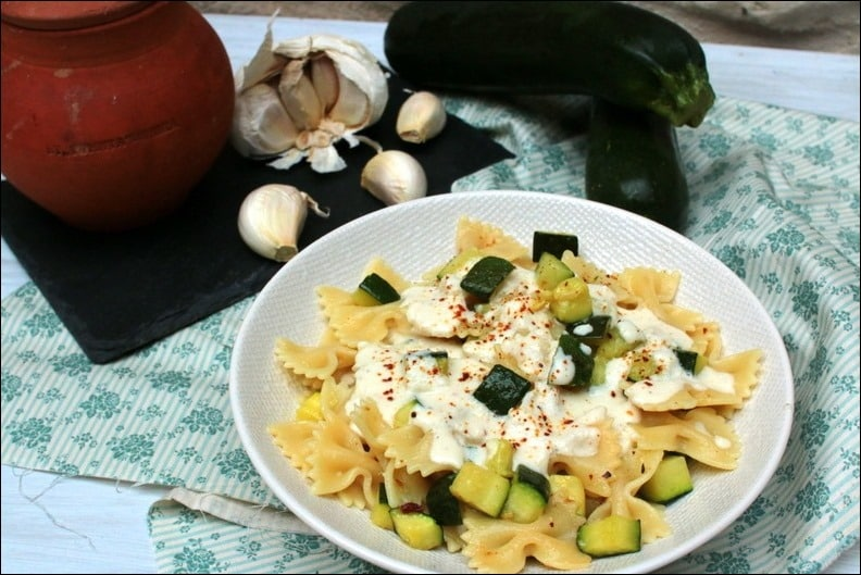 pates courgettes fromage chevre