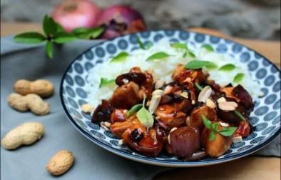 poulet caramélisé au piment basilic thai et cacahuètes