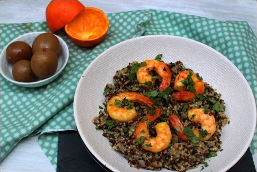 quinoa crevettes caramelisees orange