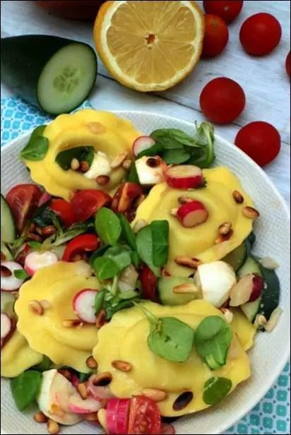 salade ravioli tomates radis