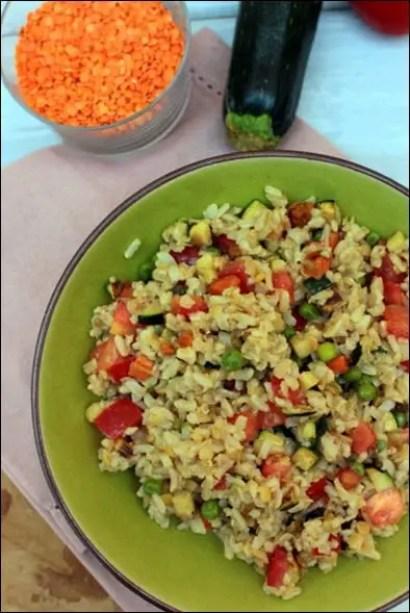 salade de riz lentilles