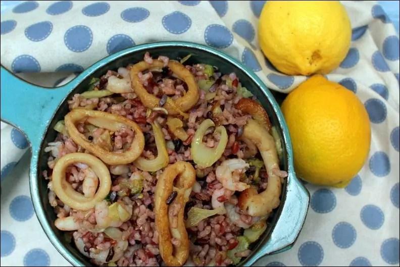 salade de riz froide crevettes