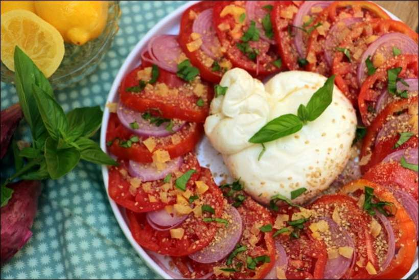 salade tomate burrata citron confit