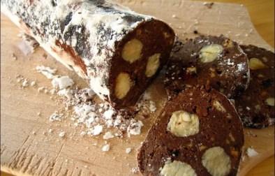 saucisson à la pâte à tartiner noisettes et petits beurres