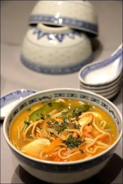 soupe chinoise crevettes poulet