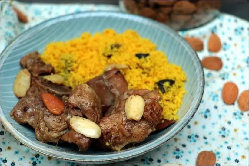 Tajine de dinde aux amandes et boulghour aux fruits secs
