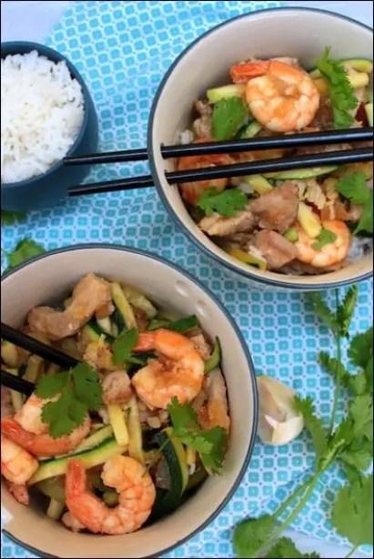 wok porc courgettes