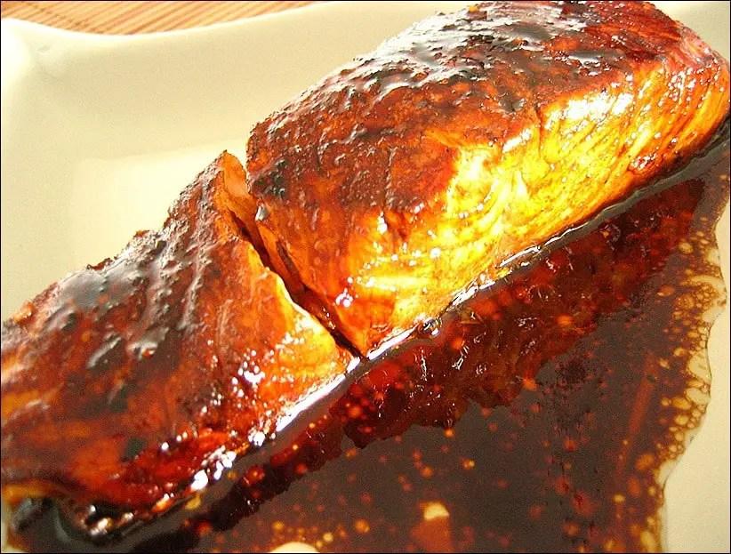 pavés de saumon laqués au miel et sauce soja