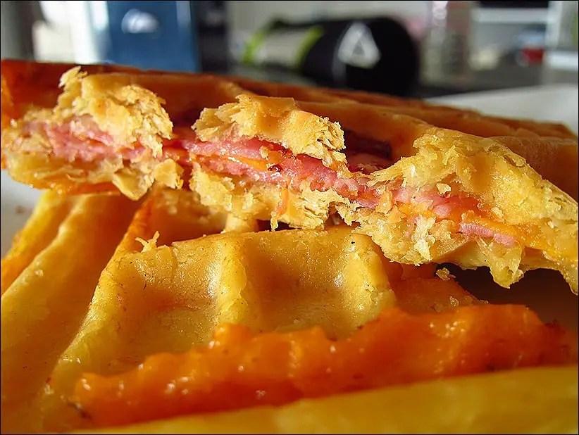 gaufres feuilletées jambon fromage