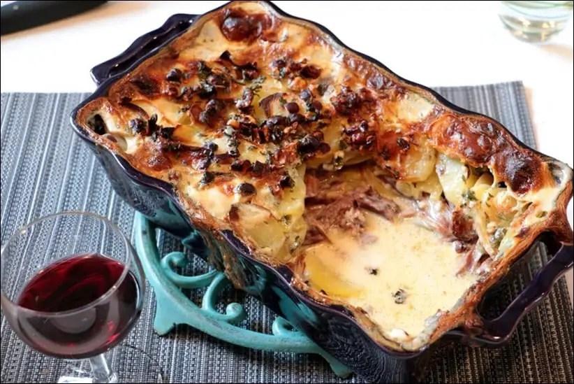 gratin de pommes de terre au confit de canard