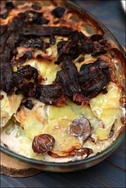gratin pomme de terre lardon champignon creme fraiche
