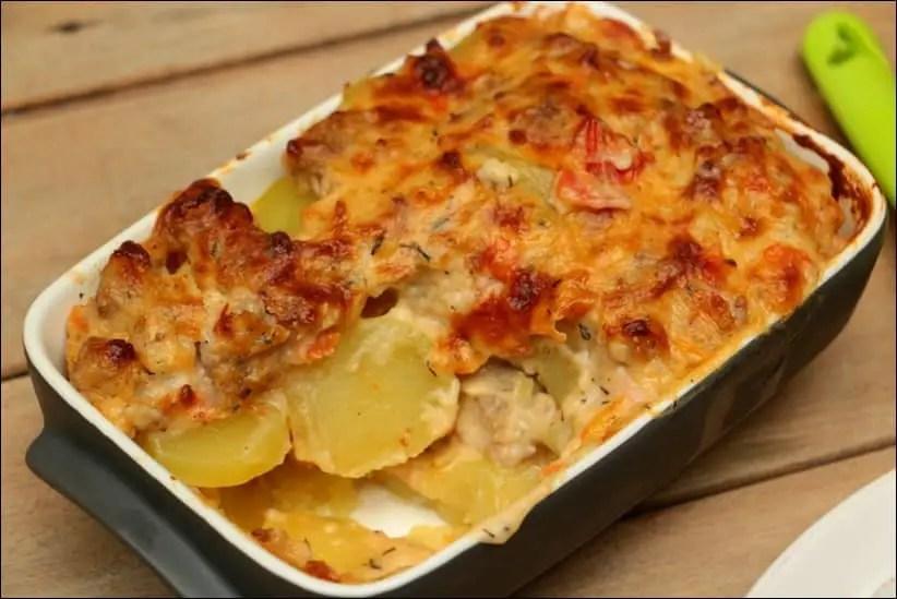 gratin de pommes de terre à la saucisse
