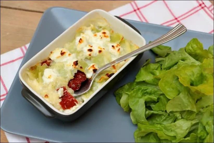gratin de ravioles au chèvre et tomates séchées