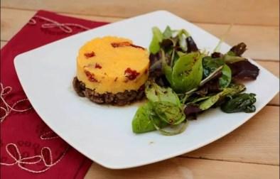 polenta aux tomates confites boeuf et champignons façon parmentier