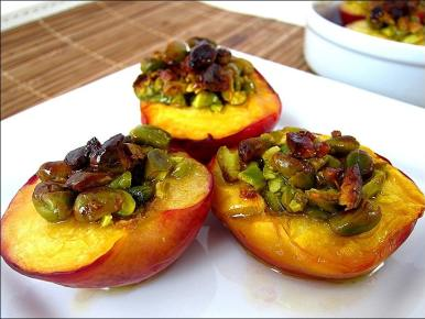 nectarines rôties aux pistaches