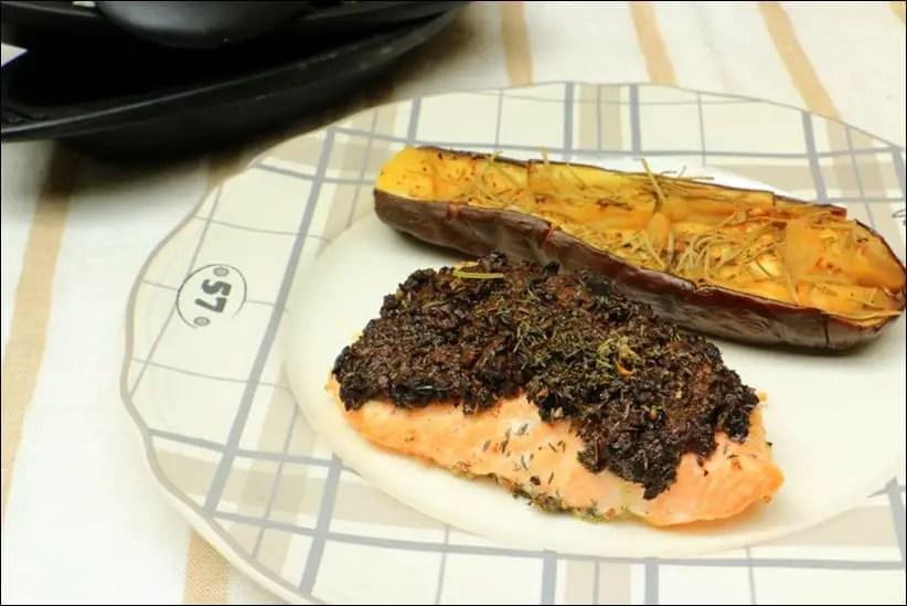 pavé de saumon aux olives noires