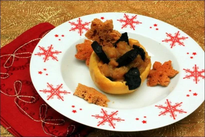 pomme cuite boudin noir