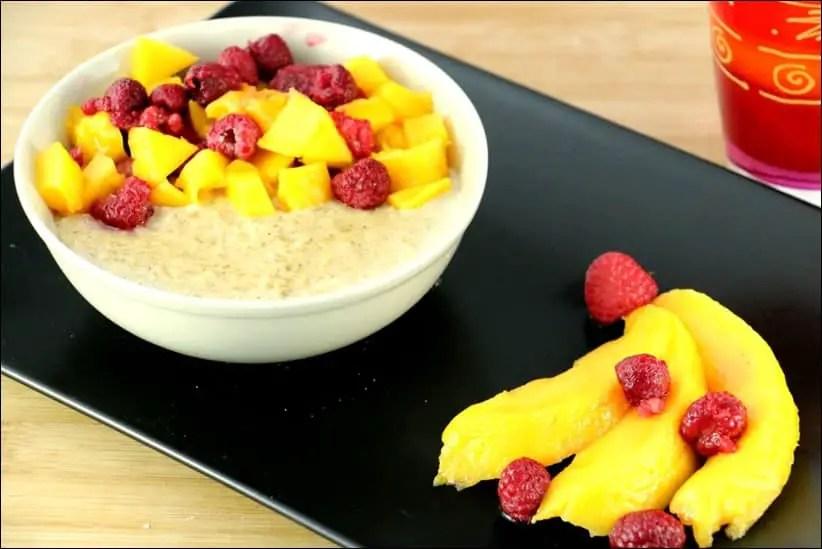 porridge mangue et framboises