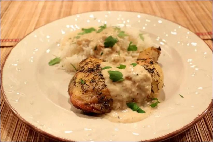 poulet rôti à la crème d'ail confit