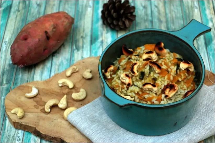 riz au curry de courgettes patates douces et noix de cajou