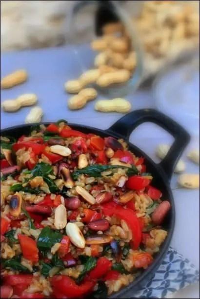 riz poivron épinards cacahuetes