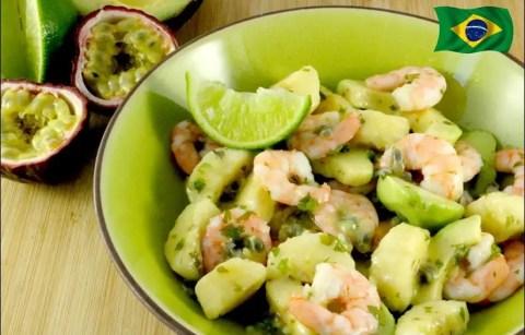 salade de crevettes et avocat aux fruits de la passion et banane
