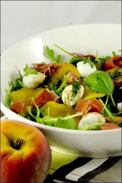 salade peche jambon de parme