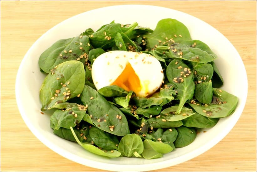 salade epinard oeuf mollet