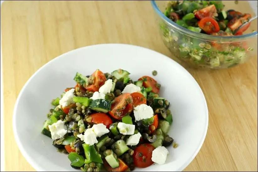 salade lentilles feta poivron