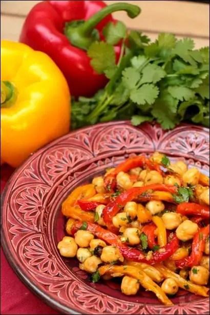 salade pois chiche poivrons grillés