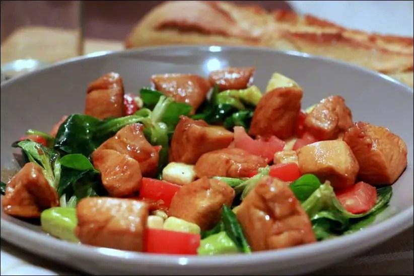 salade de poulet caramélisé au miel de Cyril Lignac