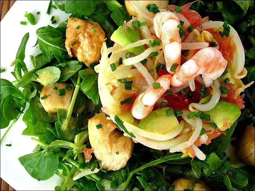 salade poulet avocat crevettes