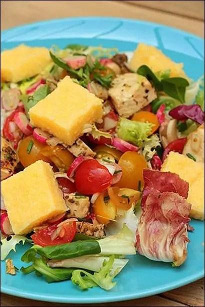 salade poulet tomate polenta