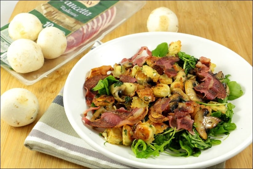 salade ravioles pancetta champignons