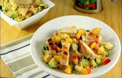 salade de semoule au poulet nectarine concombre et feta