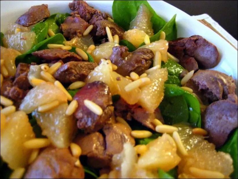 salade d'epinard aux foies de volaille