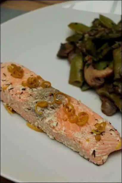 saumon confit à l'huile d'olive basse temperature
