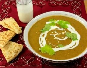 potage à l'indienne et ses naans au fromage