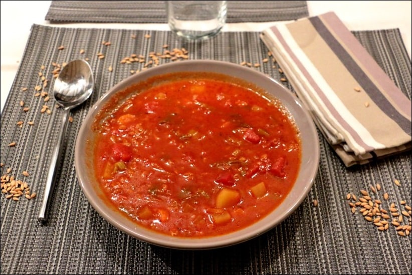 soupe tomate et epeautre